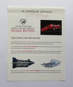 c. 1991 Dodge Viper RT/10 Technical Highlights Order Form Brochure