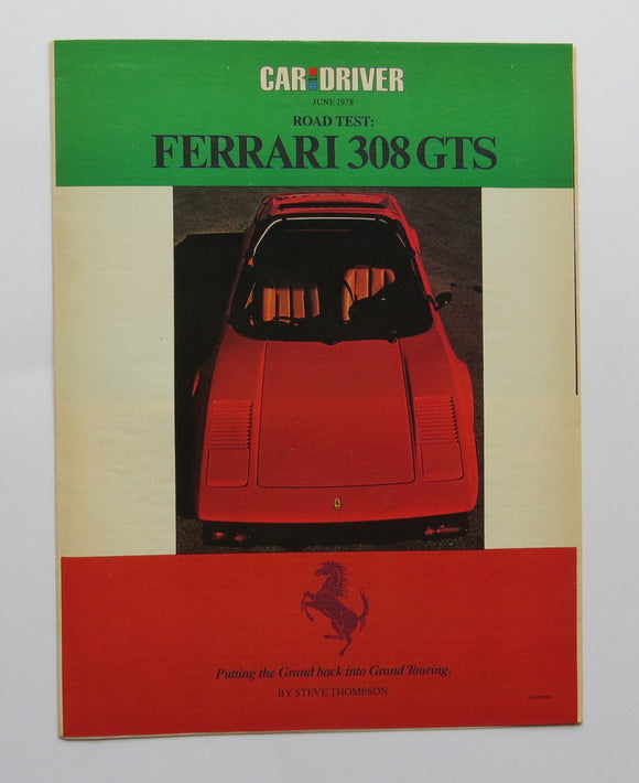 1978 Ferrari 308GTS Road Test Brochure