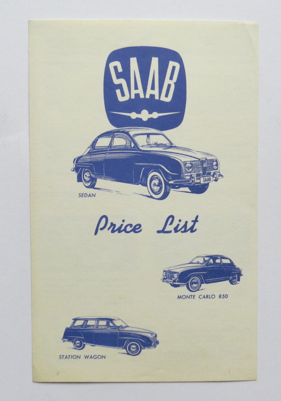 c. 1972 Saab Price List Brochure Sedan Wagon Monte Carlo 850