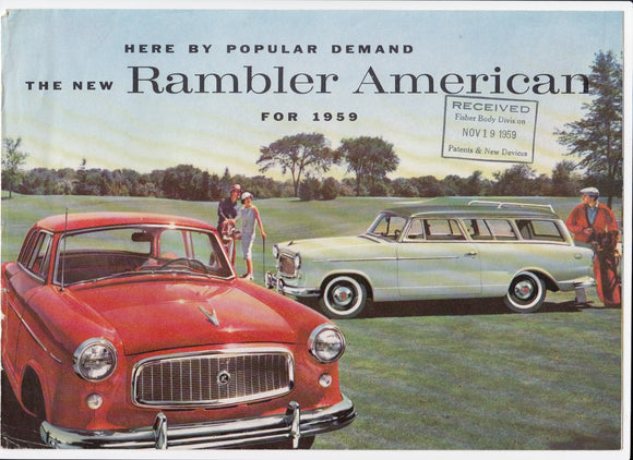 1959 AMC Rambler American Foldout Brochure Club Sedan Station Wagon