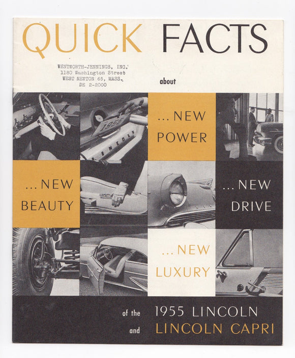 1955 Lincoln and Lincoln Capri Quik Facts Brochure