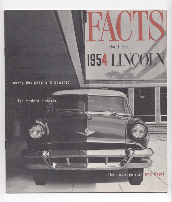 1954 Lincoln Cosmopolitan and Capri Facts Brochure