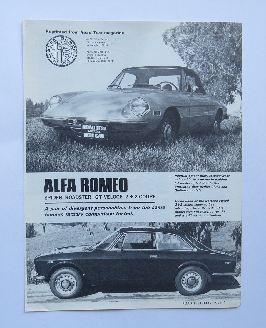 1971 Alfa Romeo Spider Roadster Veloce GT Coupe Road Test