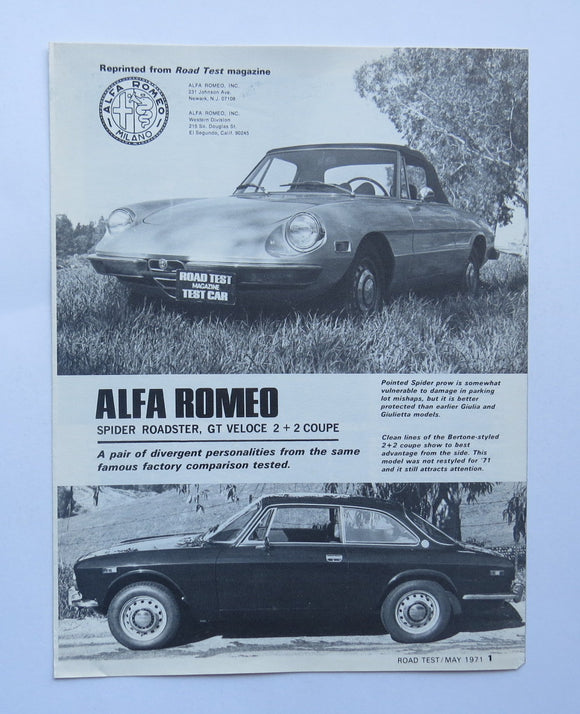 1971 Alfa Romeo Spider Roadster Veloce GT Coupe Road Test Brochure