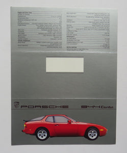 1987 Porsche 944 Turbo Brochure