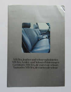 1977 Mercedes Benz Leather Velour Upholstery Brochure