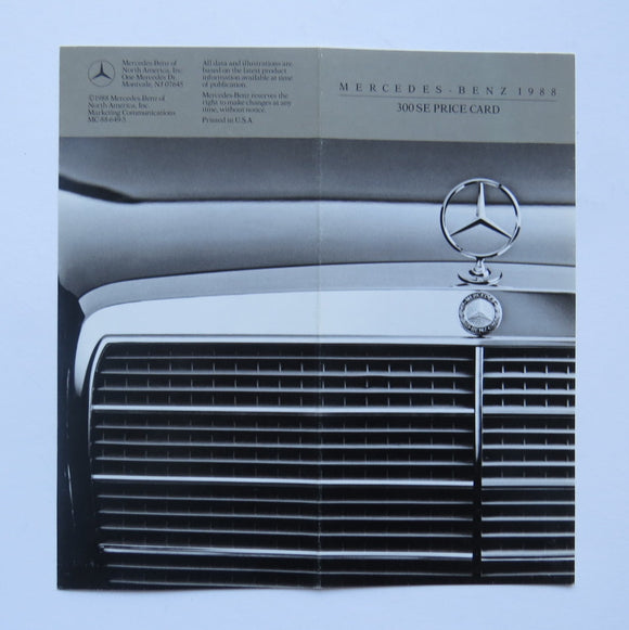 1988 Mercedes Benz 300 SE Price Card Brochure