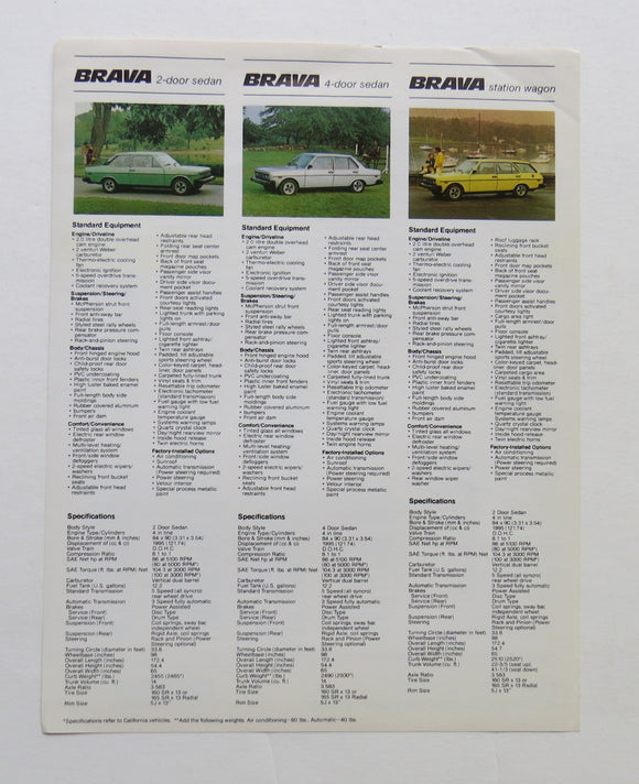 c. 1979 Fiat Full Line Specifications Brochure Brava 128 X1/9 Spider 2000