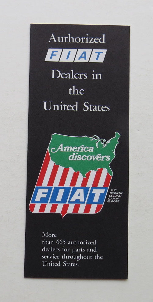 1973 Fiat Authorized Dealers in the United States Brochure