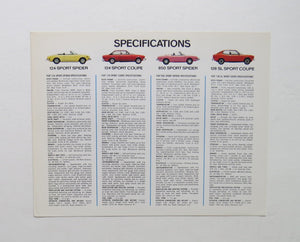 c. 1973 Fiat Full Line Specifications Brochure 124 850 Spider Special