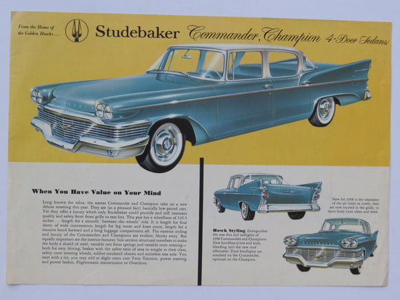 1958 Studebaker Commander and Champion Color Specification Sheet Brochure
