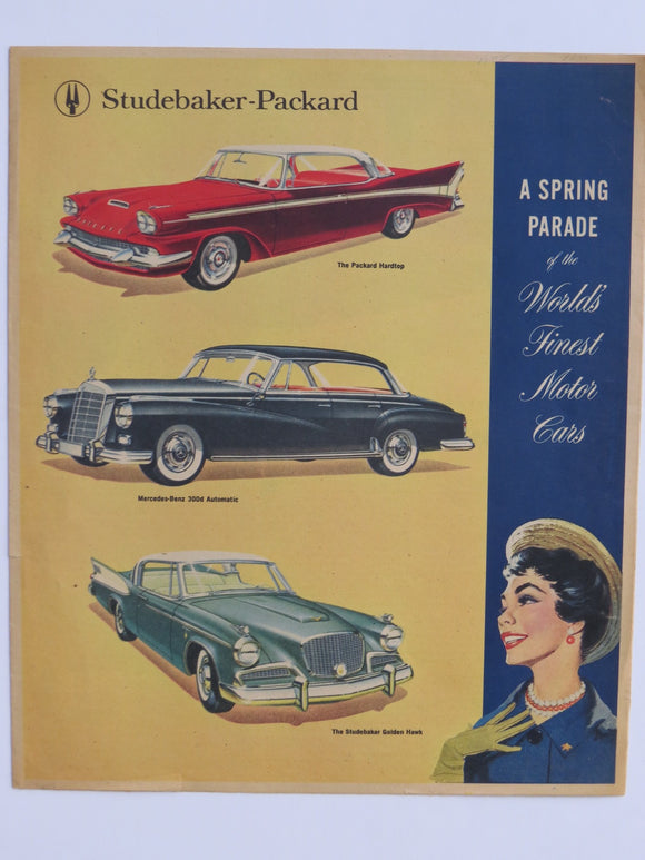 1958 Studebaker Packard Mercedes Benz Newspaper Insert Color Brochure