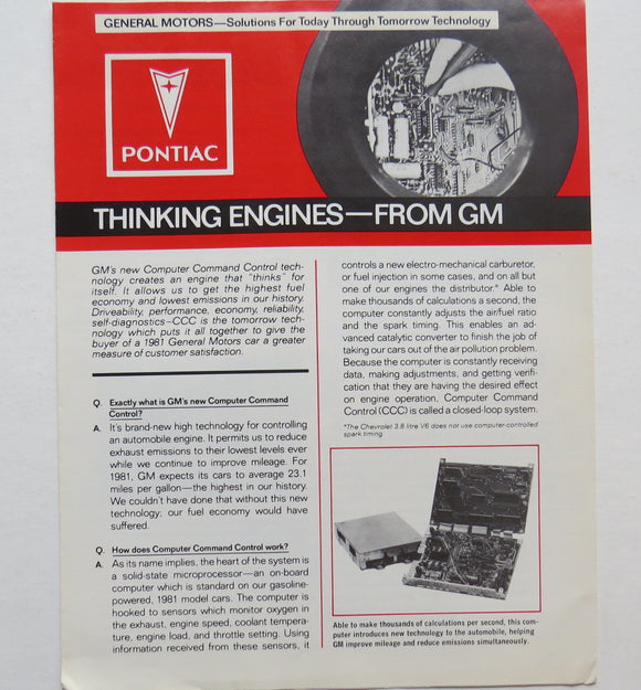 1981 Pontiac Thinking Engines from GM Brochure