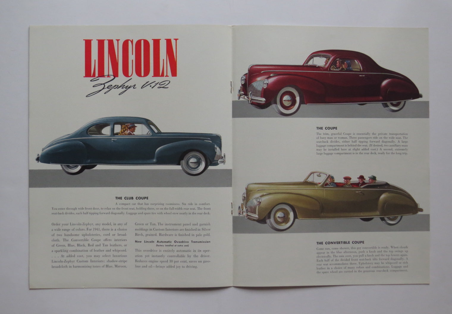 1941 Lincoln Zephyr V12 Brochure Sedan Club Coupe Convertible Ford