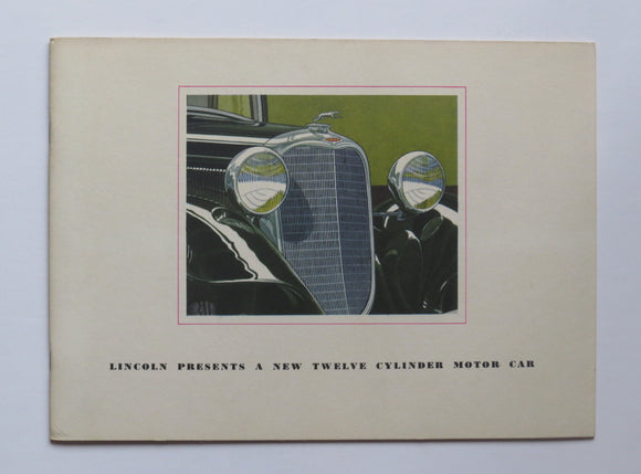 1933 Lincoln V-12 Twelve Cylinder Brochure Phaeton Town Car Roadster Coupe