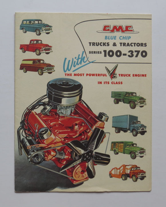 1957 GMC  Blue Chip V-8 Trucks & Tractors Foldout Brochure 100-370 Series