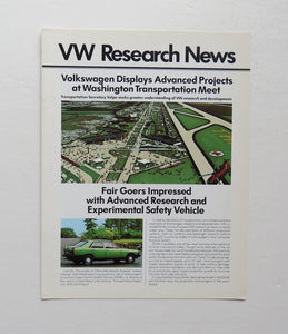 1972 Volkswagen Research News Transpo Fair Brochure Beetle Electric Bus Rotary