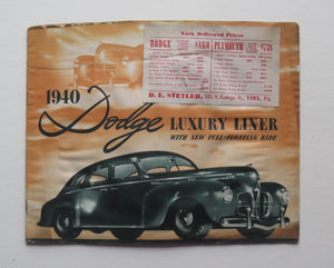 1940 Dodge Brochure Luxury Liner