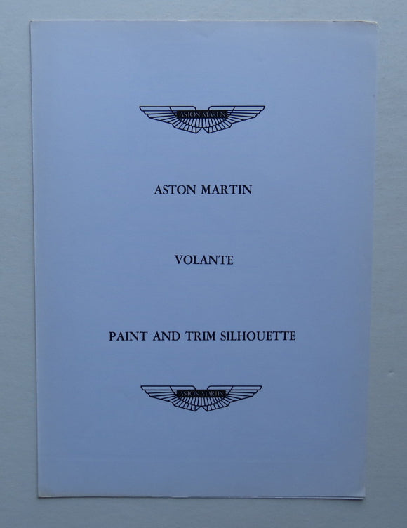 c. 1970 Aston Martin Volante Paint Trim Brochure