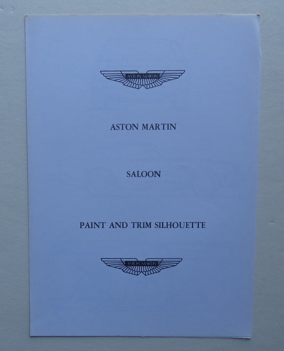 c. 1970 Aston Martin Saloon Paint Trim Brochure