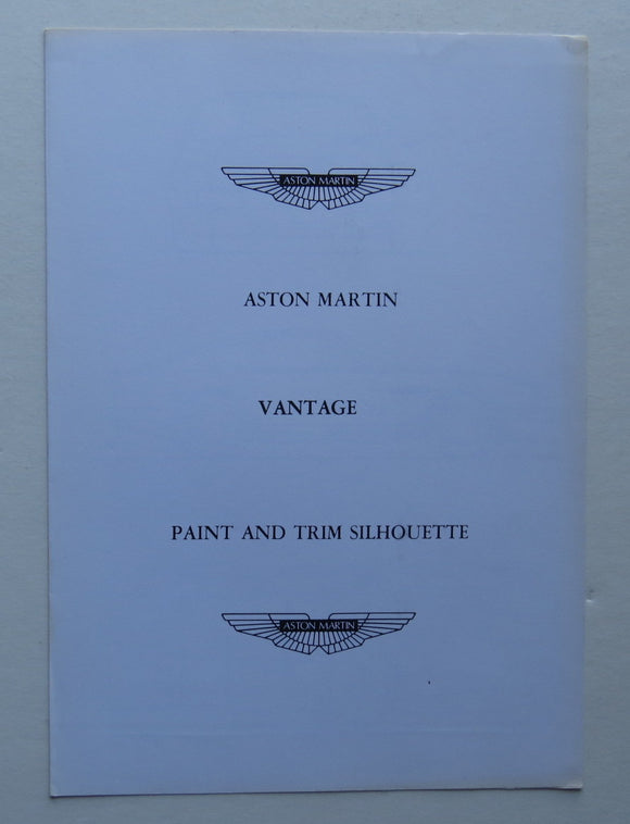 c. 1970 Aston Martin Vantage Paint Trim Brochure