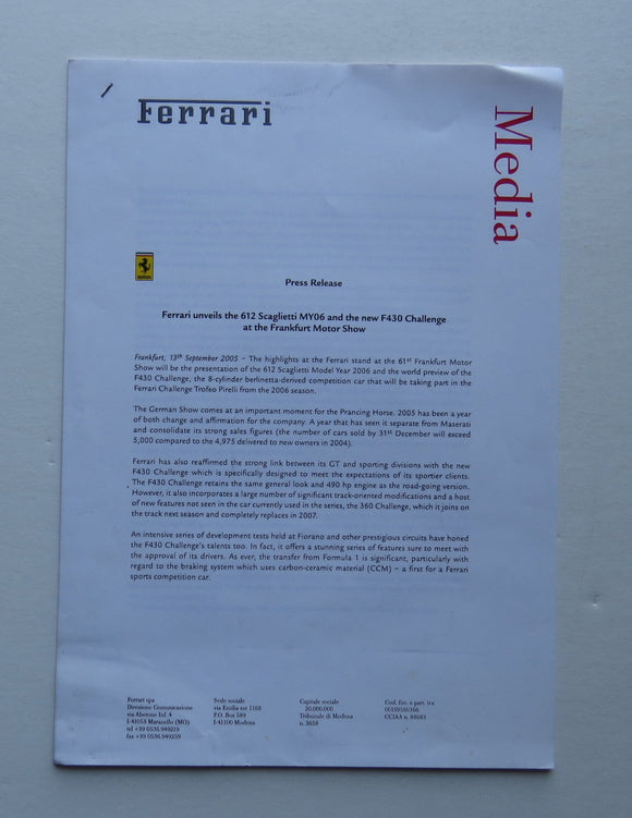 2005 Ferrari 612 Scaglietti MY06 F430 Challenge Press Release Media Brochure