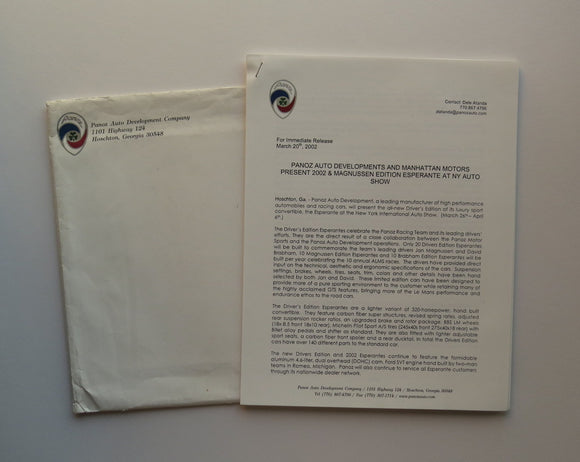 2002 Panoz Press Release Lot