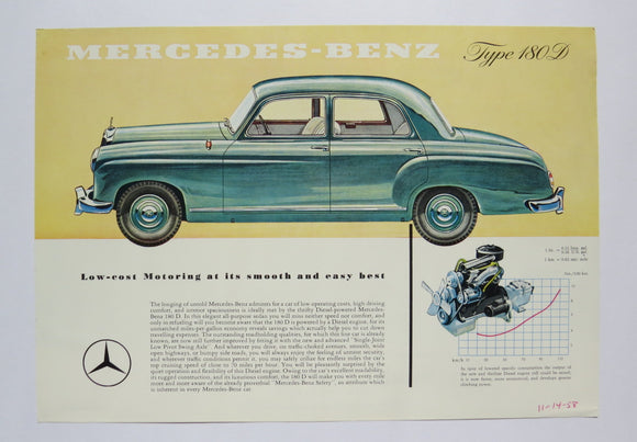 1956 Mercedes Benz Type 180D Brochure