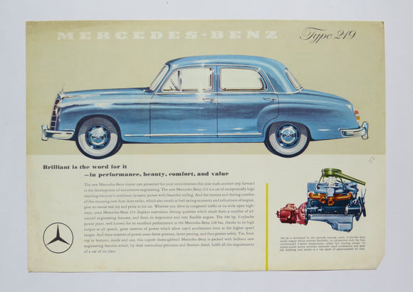 1956 Mercedes Benz Type 219 Brochure