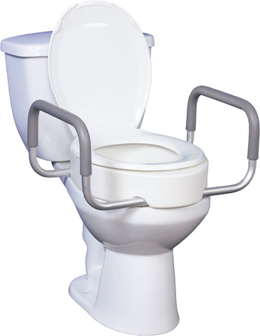 PREMIUM RAISED TOILET SEAT WITH REMOVABLE ARMS FOR ELONGATED TOILETS