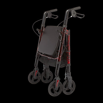 Regal - Bariatric Aluminum 4 Wheel Rollator with Universal Height Adjustment - Laser Red