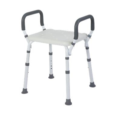 Premium Shower Bench/Chair with Removable Padded Arms - Without Back - White
