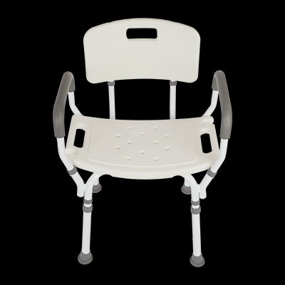 Premium Shower Chair with Back and Padded Arms - White