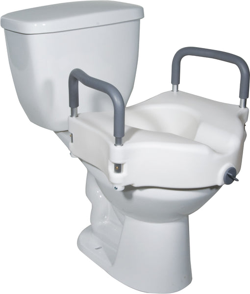 "Raised Toilet Seat Round With Removable Arms, Lock & 5"" Height"