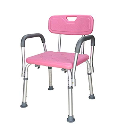 Premium Shower Bench/Chair with Removable Padded Arms - With Back - Pink