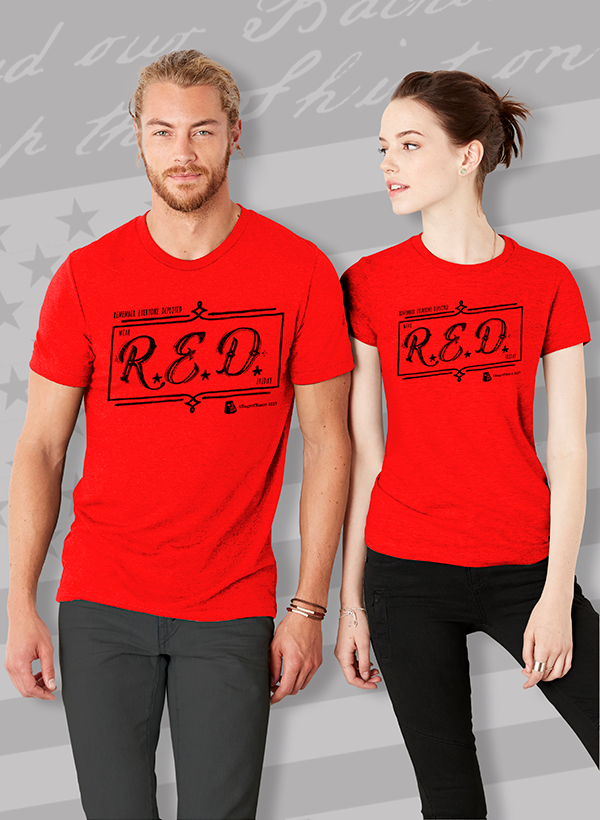 RED-Abbreviated Black Unisex T-shirt