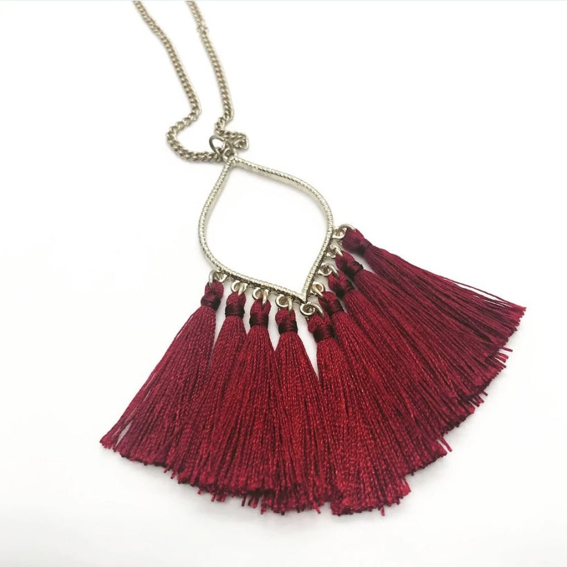 Oval Pendant with Tassel- Burgundy