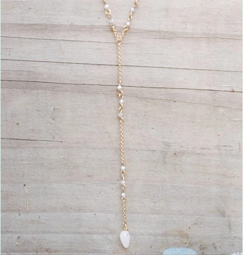 Pink Stone Drop Necklace