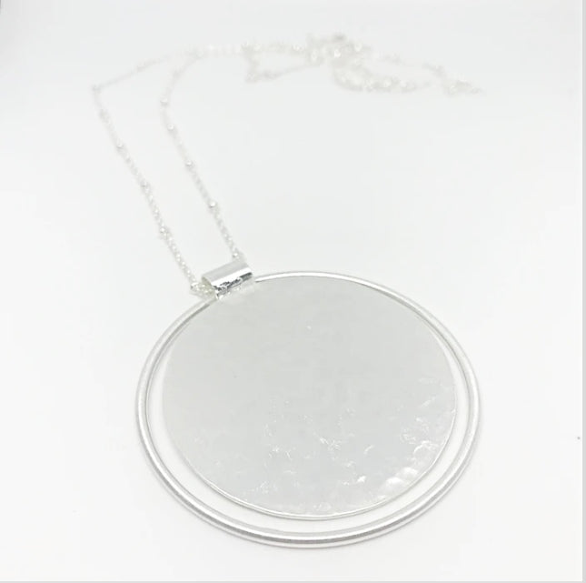 Hammered Disc Necklace- Silver