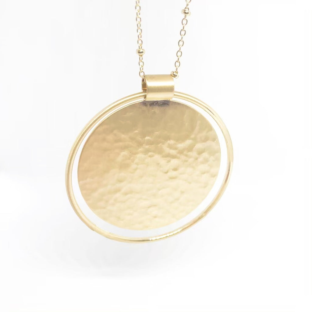 Hammered Disc Necklace-Gold