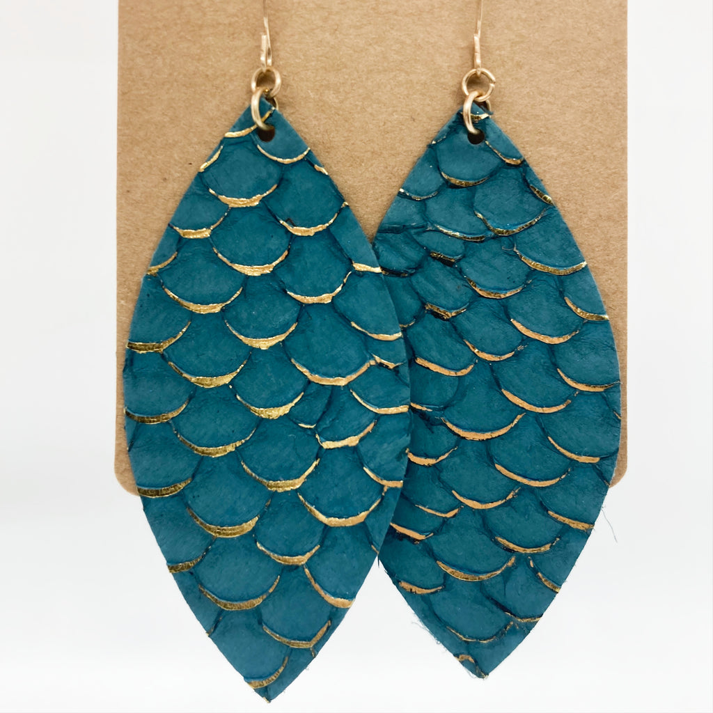 Teal Leather Leaf Earring