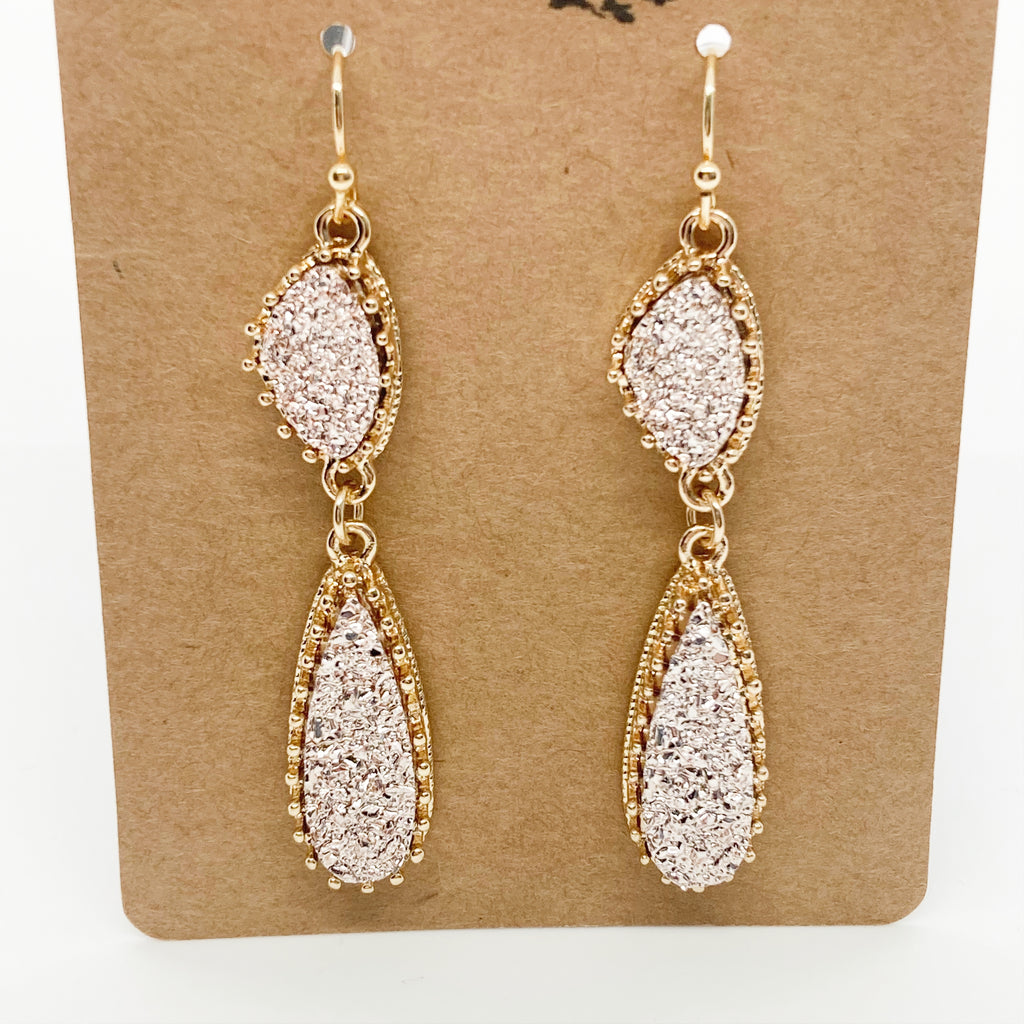 Double Druzy Drop Earrings- Rose Gold