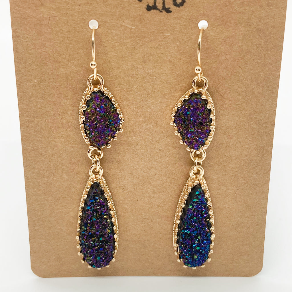 Double Druzy Drop Earrings- Blue Multi