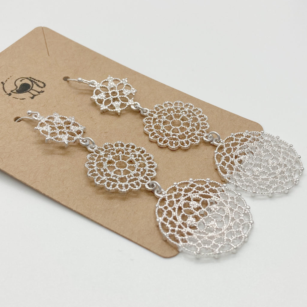 Intricate Triple Disc Earrings-Silver