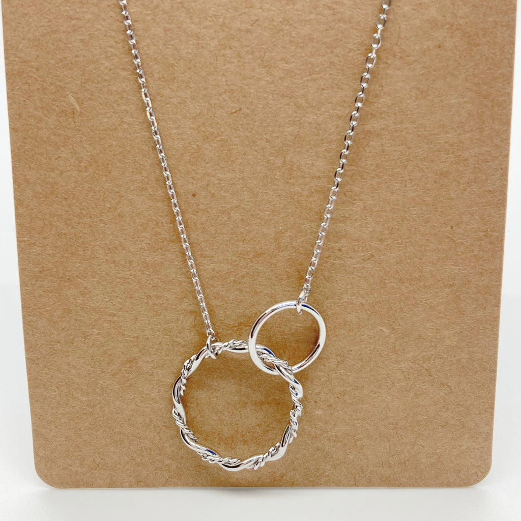 Double Ring Necklace-Silver