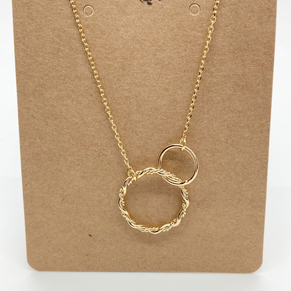 Double Ring Necklace-Gold