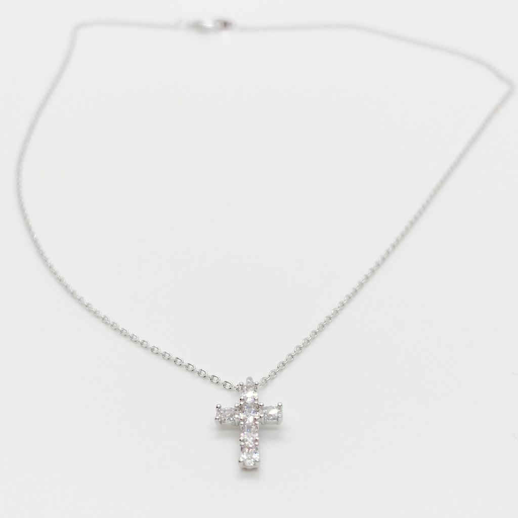 Sweet CZ Cross Necklace-Silver