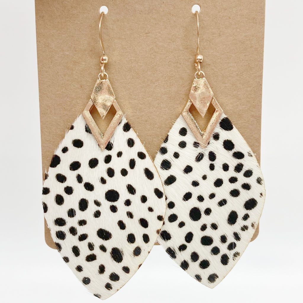 Black Polka Dot Print Earrings