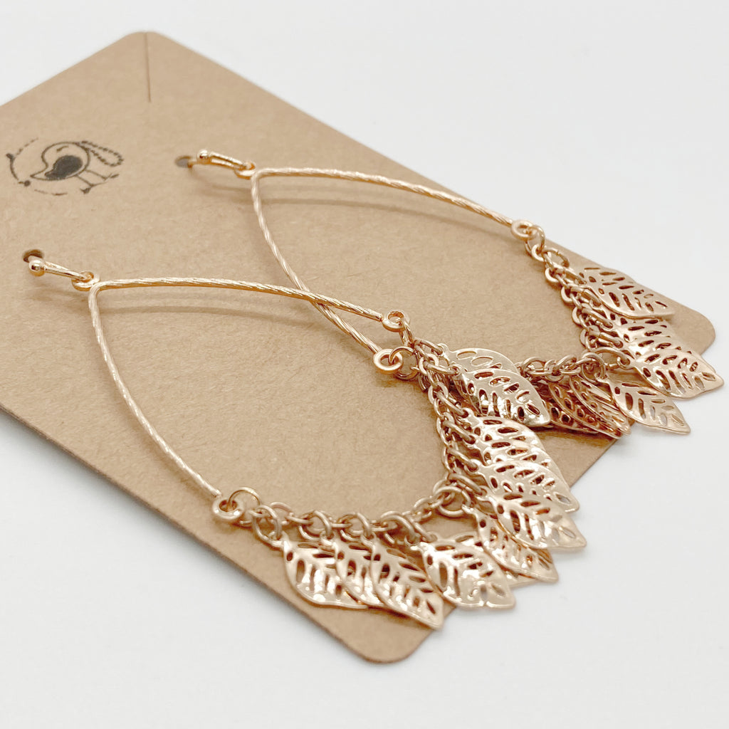 Multi Leaf Tear Drop Earring- Gold