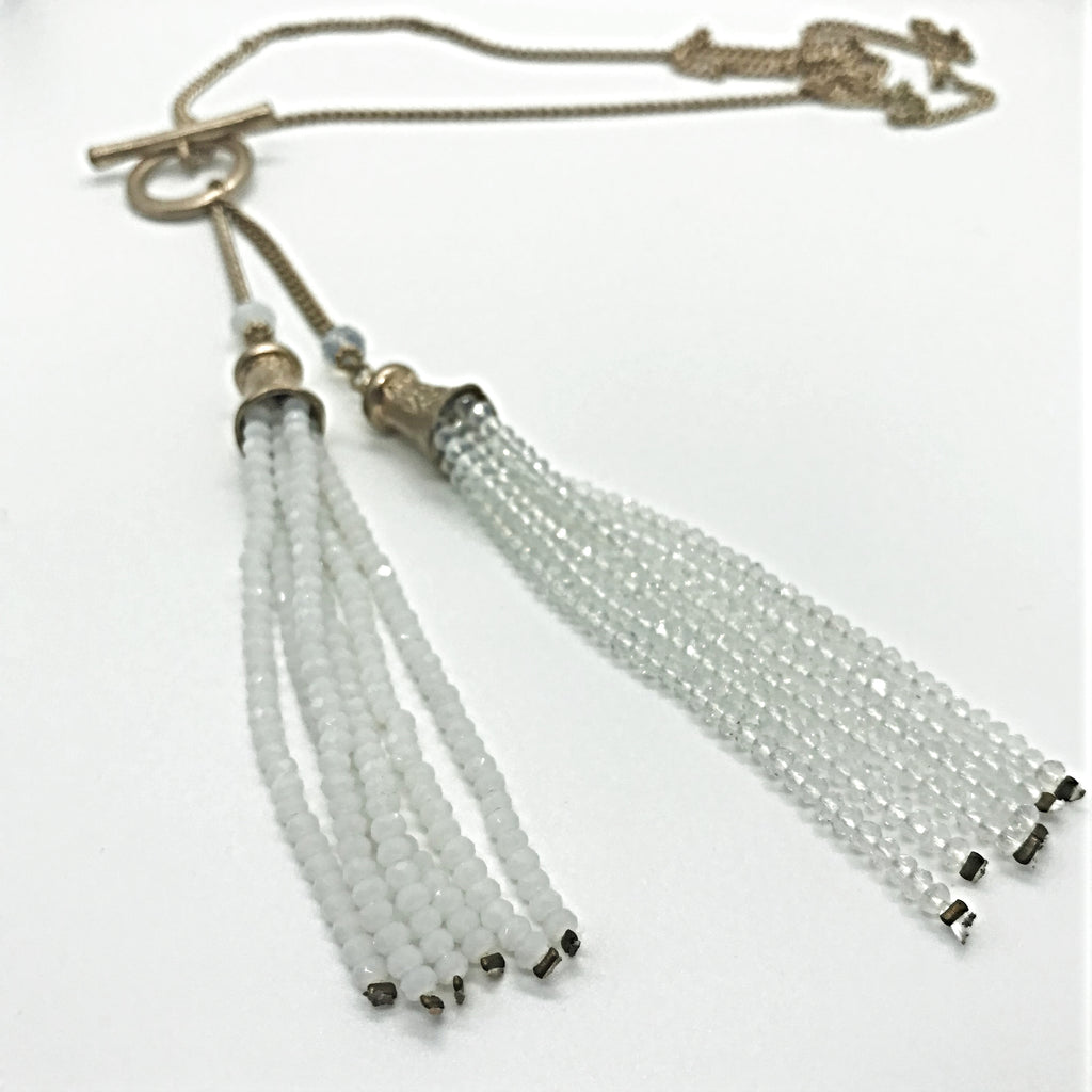 Double Beaded Tassel Necklace